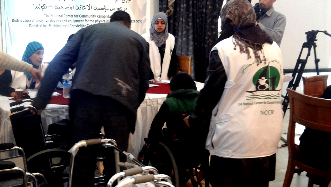 DISTRIBUTION OF ASSISTING DEVICES FOR THE PHYSICALLY DISABLED IN KHAN YOUNIS AND THE MIDDLE AREA